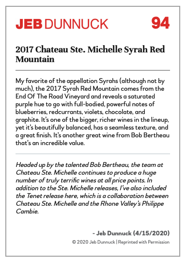 2017 Chateau Ste. Michelle Syrah Red Mountain_
