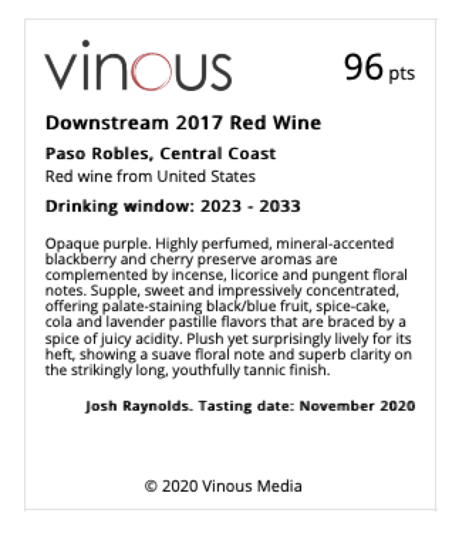 Downstream 2017 Red Wine | Vinous -